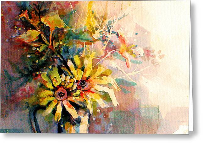 Greeting Card featuring the painting Daisy Day by Linda Shackelford