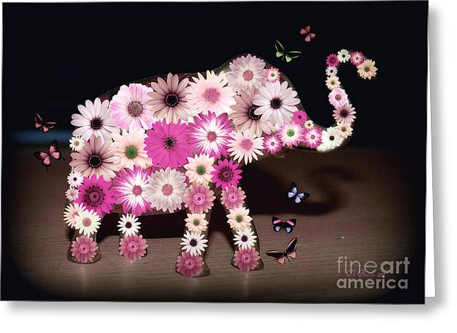 Daisy Elephant Greeting Card by Donna Bentley