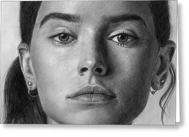 Daisy Ridley Pencil Drawing Portrait Greeting Card