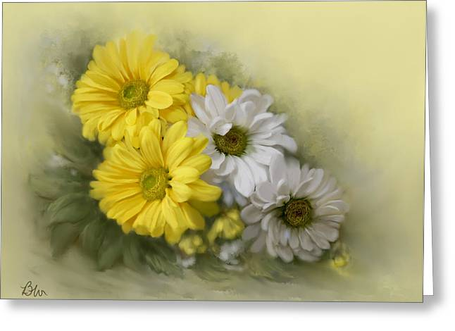 Greeting Card featuring the painting Daisy Spring Bouquet by Bonnie Willis