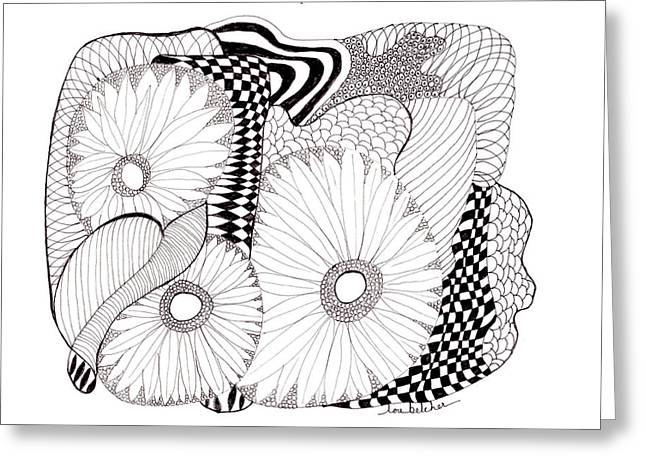 Greeting Card featuring the drawing Daisy Zentangle by Lou Belcher