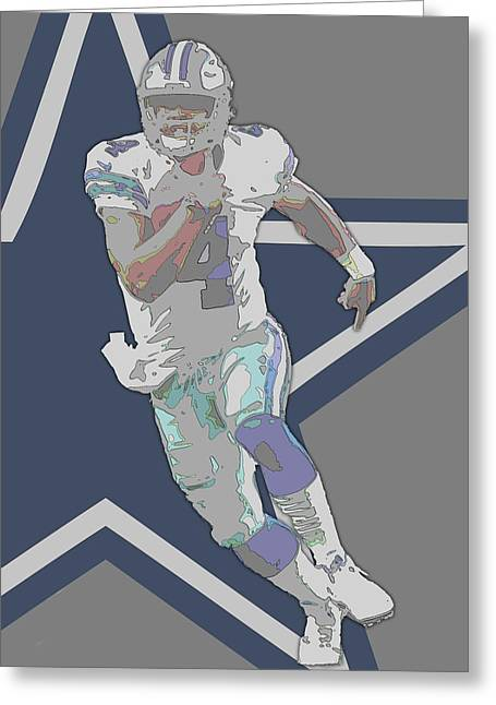 Dak Prescott Dallas Cowboys Contour Art Greeting Card by Joe Hamilton