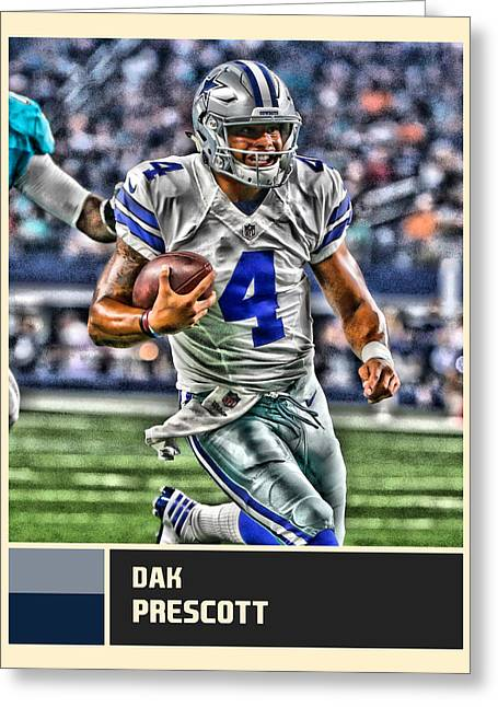 Dak Prescott Dallas Cowboys Greeting Card by Joe Hamilton