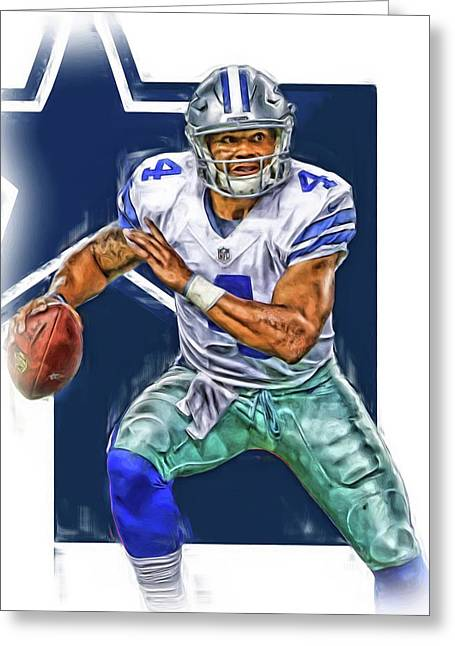 Dak Prescott Dallas Cowboys Oil Art Greeting Card by Joe Hamilton