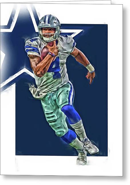 Dak Prescott Dallas Cowboys Oil Art Series 1 Greeting Card by Joe Hamilton