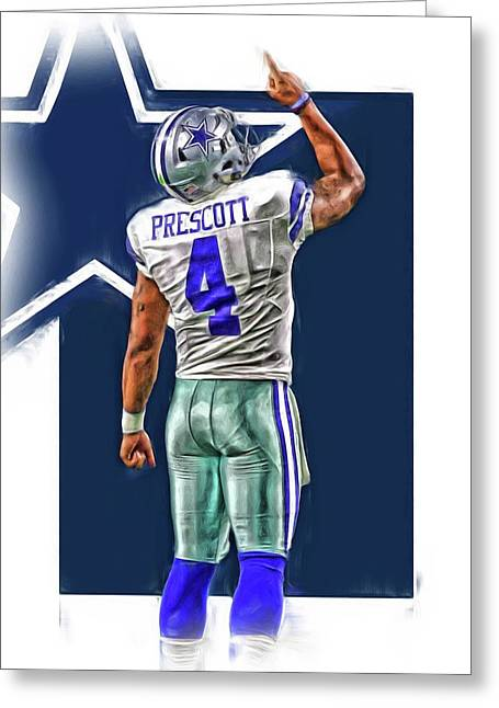 Dak Prescott Dallas Cowboys Oil Art Series 2 Greeting Card by Joe Hamilton