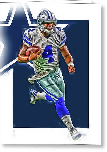 Dak Prescott Dallas Cowboys Oil Art Series 3 Greeting Card by Joe Hamilton