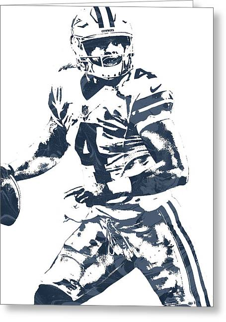 Dak Prescott Dallas Cowboys Pixel Art 3 Greeting Card by Joe Hamilton