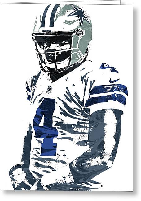Dak Prescott Dallas Cowboys Pixel Art 4 Greeting Card by Joe Hamilton