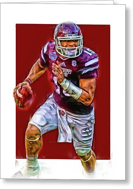Dak Prescott Mississipi State Oil Art Series 1 Greeting Card