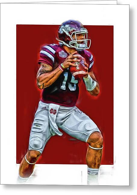 Dak Prescott Mississipi State Oil Art Series 2 Greeting Card by Joe Hamilton
