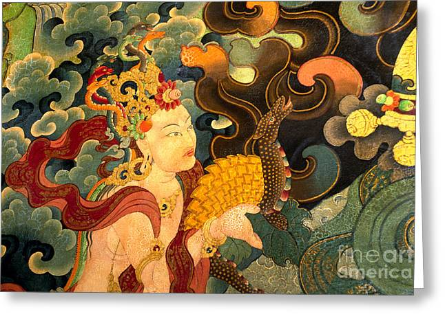 Dakini With Nagas - Sera Monastery Tibet Greeting Card by Craig Lovell