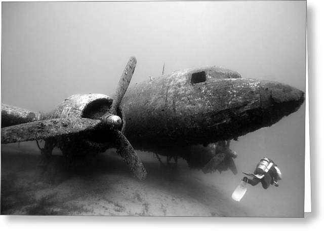 Dc3 Aircraft Underwater Greeting Card by Rico Besserdich