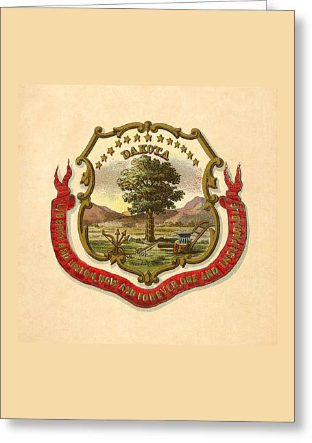 Dakota Territory Historical Coat Of Arms Circa 1876 Greeting Card by Serge Averbukh
