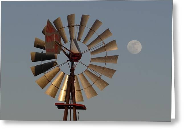 Dakota Windmill And Moon Greeting Card