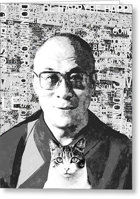 Dalai Lama And Cat Greeting Card by Stacey Chiew