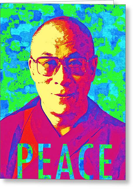 Dalai Lama - Retro Pop Art, Peace Greeting Card by Stacey Chiew