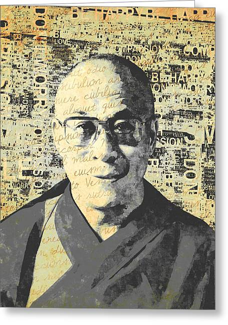 Dalai Lama - Retro Vintage Greeting Card by Stacey Chiew