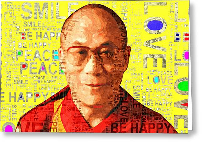 Dalai Lama - Yellow Greeting Card