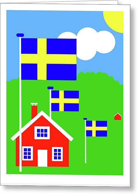 Dalarne Sweden Greeting Card by Asbjorn Lonvig