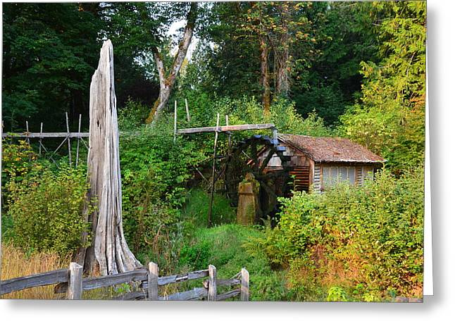 Dalby Waterwheel Greeting Card by Mark Bowmer
