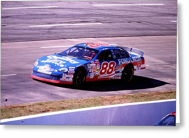 Dale Jarrett # 88 Quality Care Ford 1999 At Martinsville Greeting Card by David Bryant