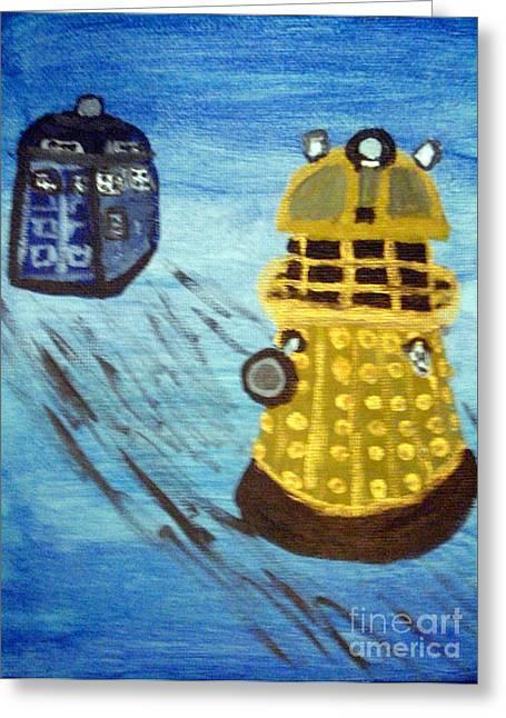 Dalek On Blue Greeting Card by Elizabeth Arthur