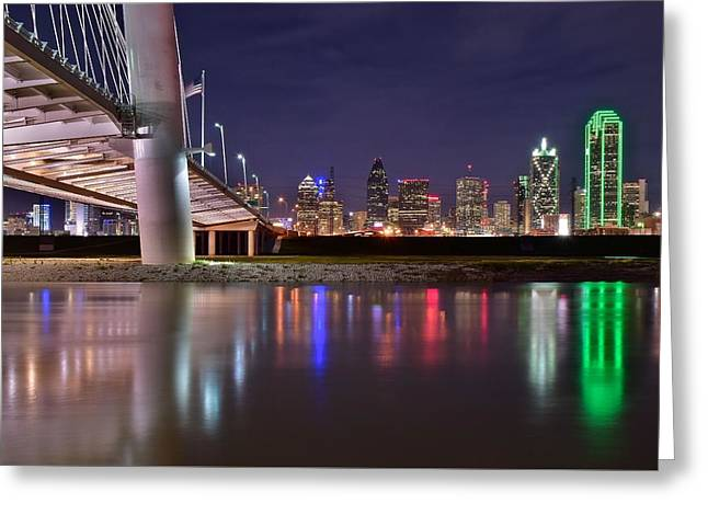 Dallas Along Side The Margaret Hunt Hill Bridge Greeting Card by Frozen in Time Fine Art Photography