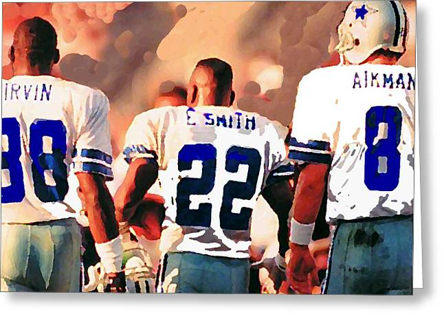 Game Mixed Media Greeting Cards - Dallas Cowboys Triplets Greeting Card by Paul Van Scott