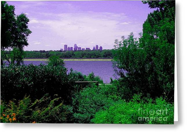 Greeting Card featuring the photograph Dallas From The Park by Robert D McBain