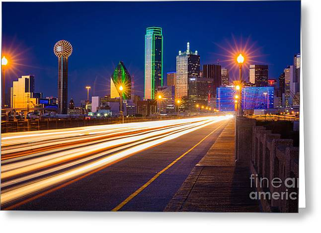 Dallas Lights Greeting Card by Inge Johnsson