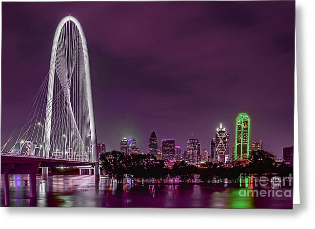 Dallas Lights Reflected Into Overcast Night Skies Greeting Card by Tamyra Ayles