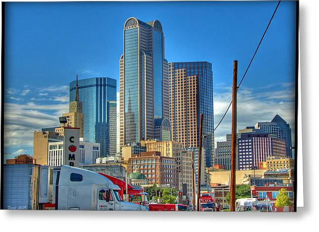 Greeting Card featuring the photograph Dallas Morning Skyline by Farol Tomson