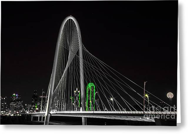 Dallas Nightscape With Green Greeting Card