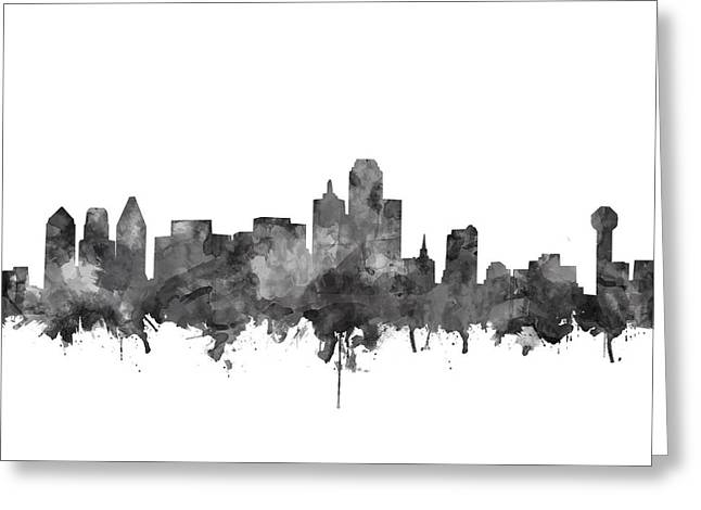 Dallas Skyline Black And White Greeting Card