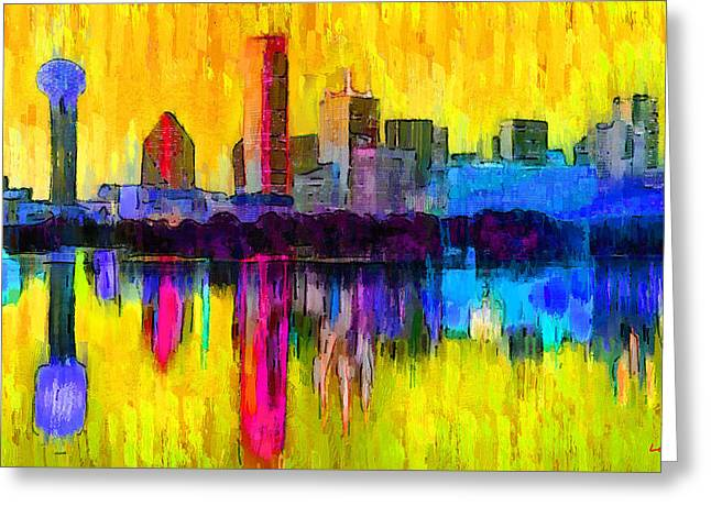 Dallas Skyline 3 - Da Greeting Card by Leonardo Digenio