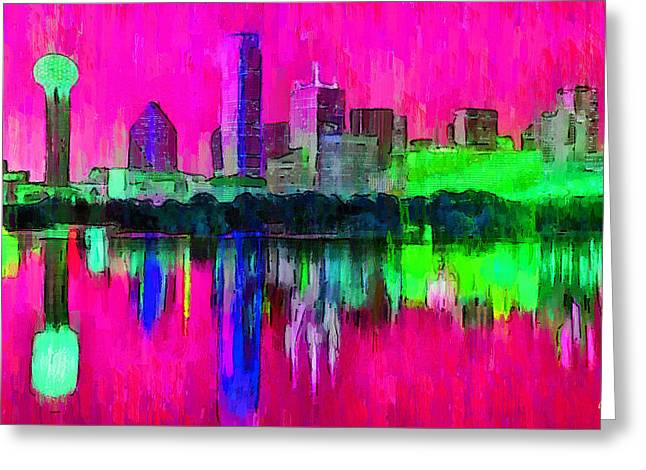 Dallas Skyline 5 - Da Greeting Card by Leonardo Digenio