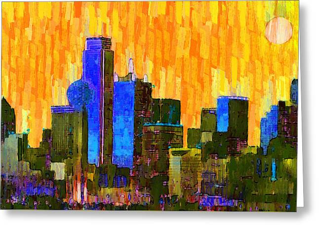 Dallas Skyline 62 - Da Greeting Card by Leonardo Digenio