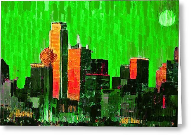 Dallas Skyline 67 - Da Greeting Card by Leonardo Digenio