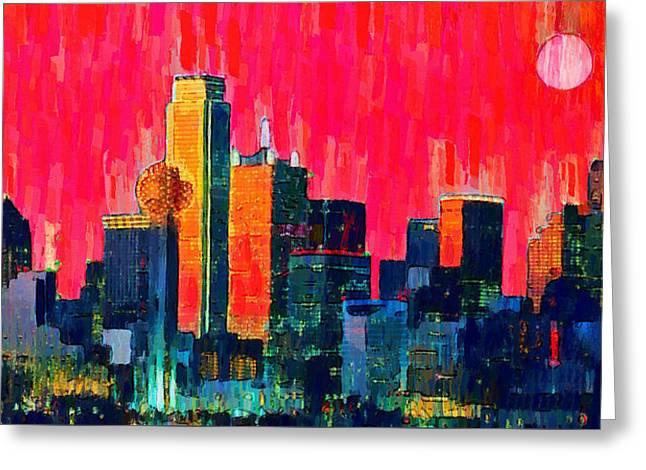 Dallas Skyline 71 - Pa Greeting Card by Leonardo Digenio