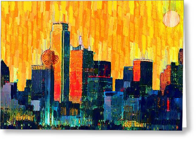 Dallas Skyline 72 - Da Greeting Card by Leonardo Digenio