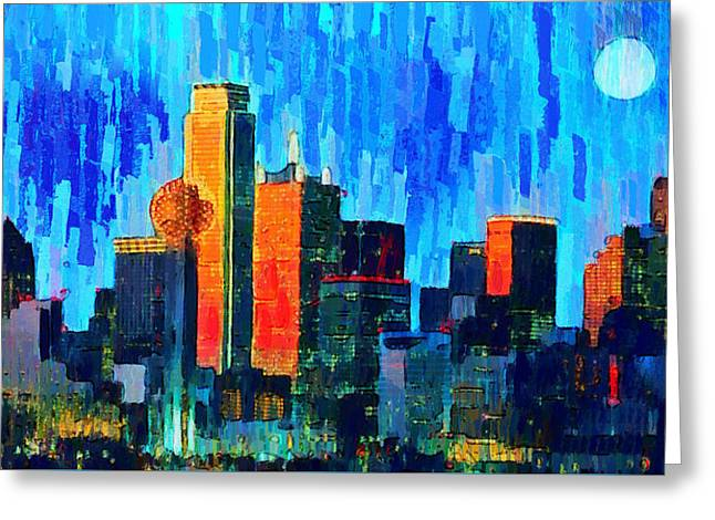 Dallas Skyline 76 - Pa Greeting Card by Leonardo Digenio