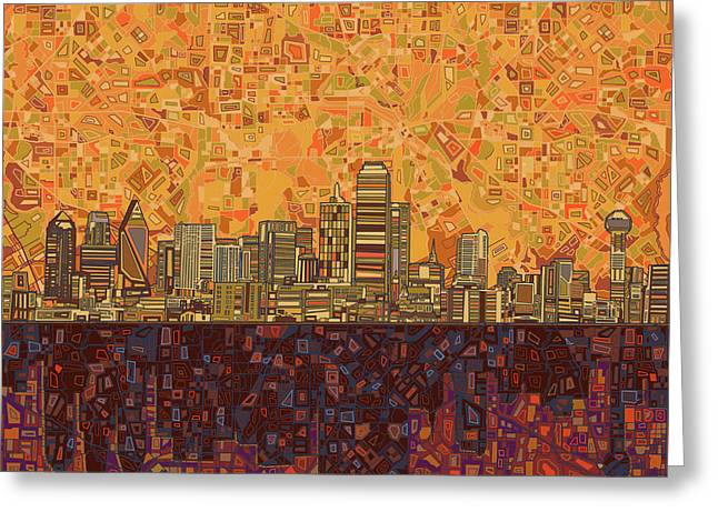 Dallas Skyline Abstract Greeting Card