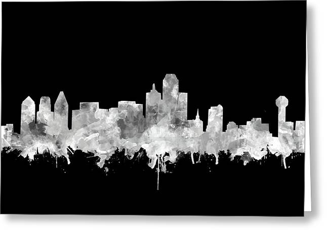 Dallas Skyline Black And White 2 Greeting Card