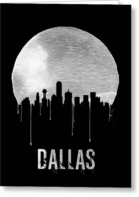 Dallas Skyline Black Greeting Card by Naxart Studio