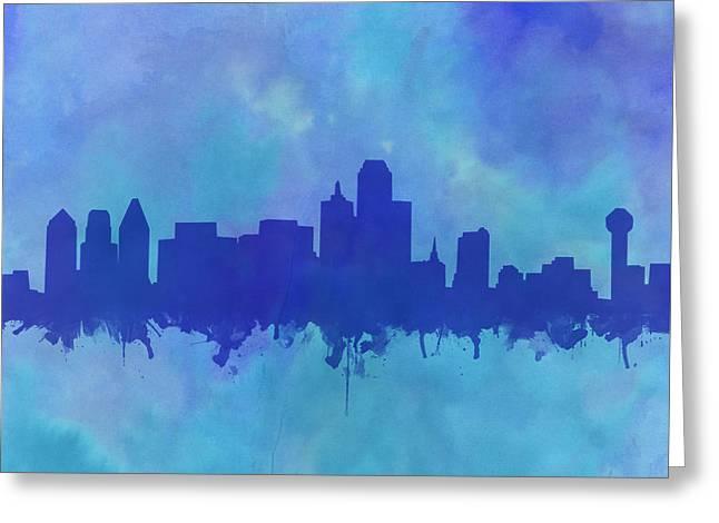 Dallas Skyline Blue 2 Greeting Card