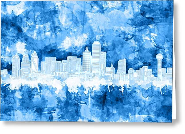 Dallas Skyline Brush Strokes Blue Greeting Card