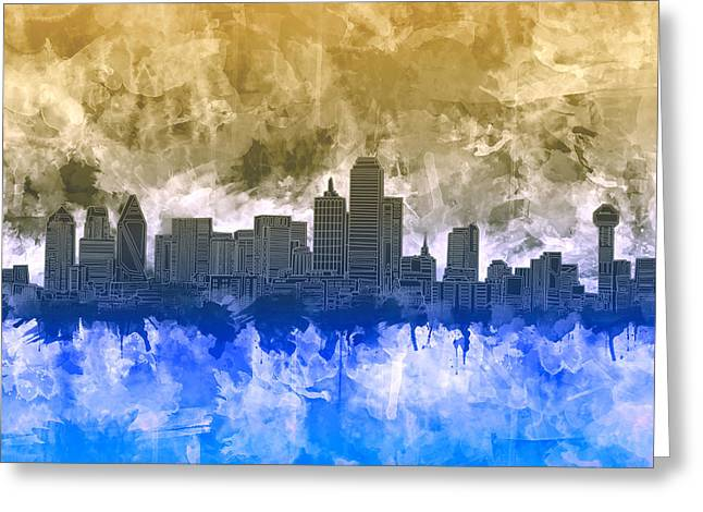 Dallas Skyline Brush Strokes Greeting Card