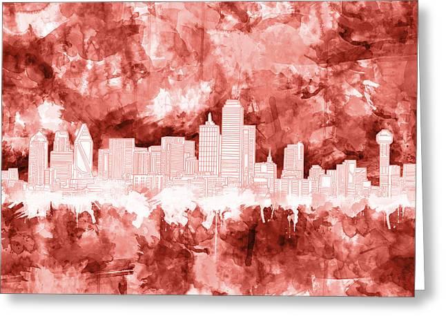 Dallas Skyline Brush Strokes Red Greeting Card