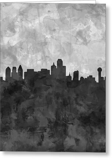 Dallas Skyline Grunge Black And White Greeting Card